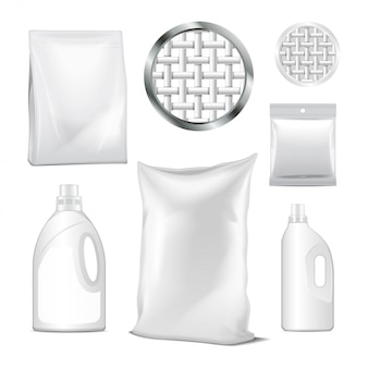 洗浄用ボトルと洗剤のパックのセット。洗濯洗剤用の空のペットボトル。現実的なベクトル画像