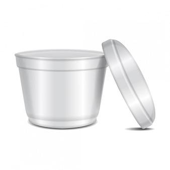 丸い白いプラスチック容器。スープボウルまたは乳製品、ヨーグルト、クリーム、デザート、ジャム。パッケージテンプレート