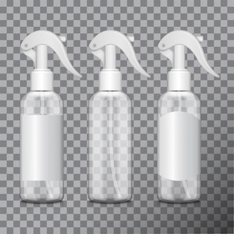 Прозрачная бутылка с распылителем. флакон медицинский, флакон, флакон с разными этикетками