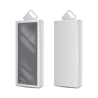 プラスチック製の吊り下げ穴付きの白いカートンボックス。現実的なパッケージ。ソフトウェアボックス