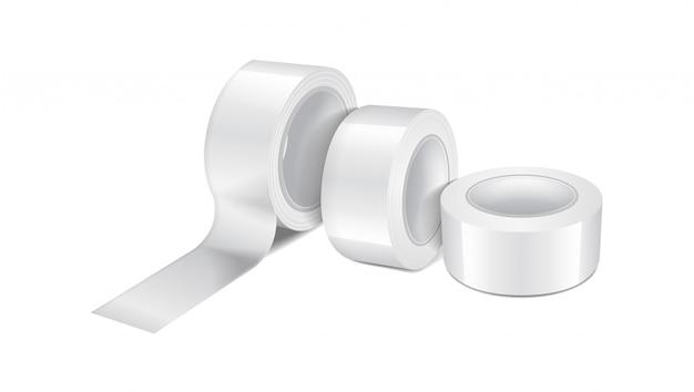 白い光沢のあるスコッチテープロール。粘着テープ、粘着テープロールの現実的なテンプレートのセット