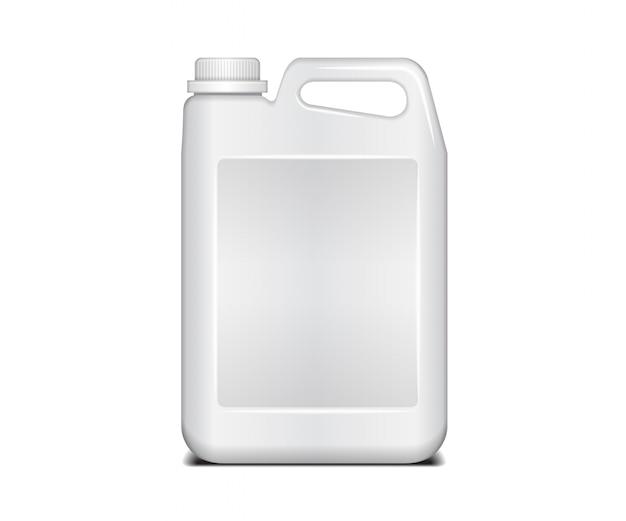 白いプラスチック容器。ふた付き液体洗濯洗剤。プラスチック製の白いキャニスター