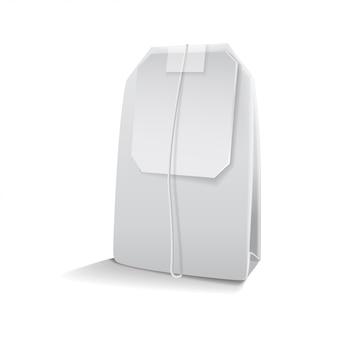 Чайный пакетик макет с пустой белой этикеткой