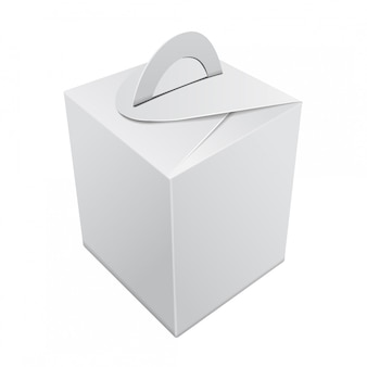 空白のクラフト紙ギフトボックス。ハンドル付きホワイトコンテナ。ギフトボックステンプレート、段ボールパッケージ