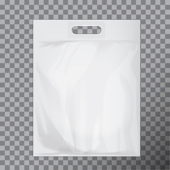 空の白い空白のビニール袋。ロゴまたはアイデンティティの提示の準備ができている消費者パック。市販品フードパケットハンドル