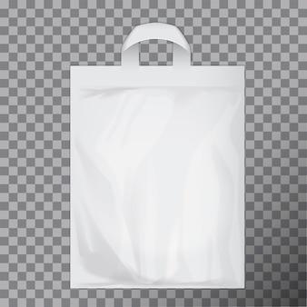 空の白い空白のポリエチレン袋。ロゴまたはアイデンティティの提示の準備ができている消費者パック。市販品フードパケットハンドル