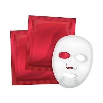フェイシャルマスク。化粧品パッケージ。白い背景の上のフェイスマスクのパッケージ