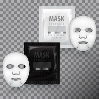 リアルなフェイシャルシートマスクとサシェ。テンプレート。透明な背景に美容製品の包装