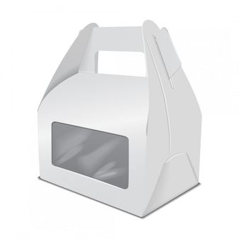 現実的なペーパーケーキの包装箱、ハンドルおよび窓が付いているギフトの容器。フードボックステンプレートを奪う