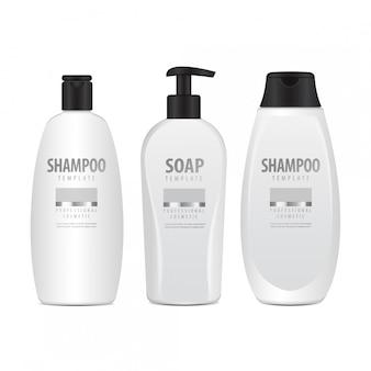 現実的な白い化粧品ボトルセット。クリーム、軟膏、ローションのチューブまたは容器。シャンプー用化粧品バイアル。図