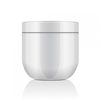 化粧品用の蓋付きの丸い白いプラスチック瓶。クリーム、ジェル、軟膏、バーム。テンプレート