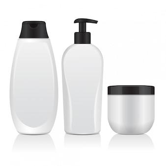 現実的な化粧品ボトルのセット。チューブ、クリーム用容器、ディスペンサー付きボトル。図