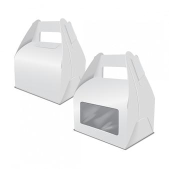 現実的な紙のケーキの包装箱、ハンドルとウィンドウのギフトコンテナーのセット。フードボックステンプレートを奪う