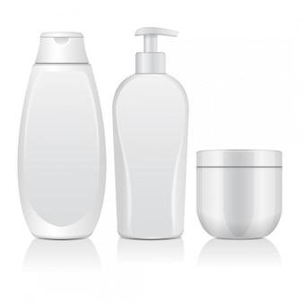 現実的な白い化粧品ボトルのセット。チューブ、クリーム用容器、ディスペンサー付きボトル。図