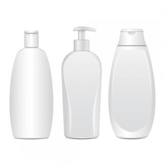 現実的な白い化粧品ボトルのセット。クリーム、軟膏、ローションのチューブまたは容器。シャンプー用化粧品バイアル。図