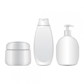 白い化粧品ボトルのセット。クリーム、軟膏、ローション用の現実的なチューブまたはコンテナ。シャンプー用化粧品バイアル。図