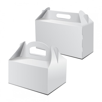キャリー包装。ベクトルモックアップのセットです。