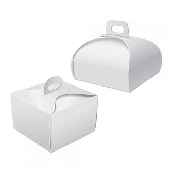 ケーキのハンドルモックアップ付きギフト包装ボックスセット。