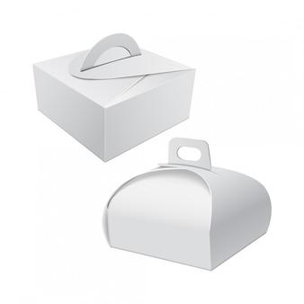 ケーキのハンドルモックアップ付きの白いギフト包装箱。