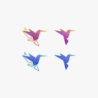 幾何学的なイラストのロゴを飛んでいるハミングバード