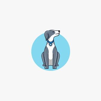 犬漫画座りポーズマスコット。