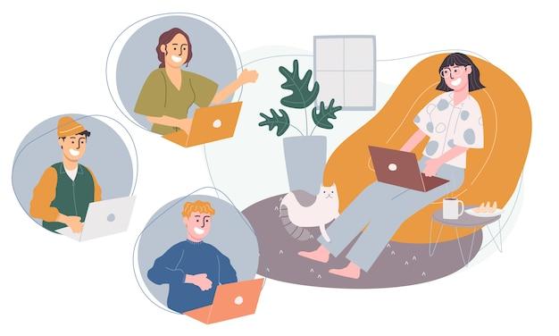 自宅やどこからでも漫画のキャラクターのフラットスタイルのイラスト。在宅での会議、オンラインで働く人々の概念。コロナウイルス検疫中の社会的距離。
