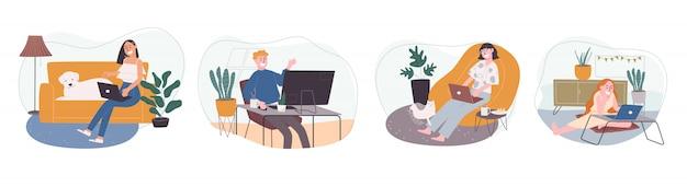 自宅やどこからでも漫画のキャラクターのフラットスタイルのイラスト。オンラインで作業しているフリーランサーの人々、自宅で会議に出席。コロナウイルス検疫中の社会的距離。