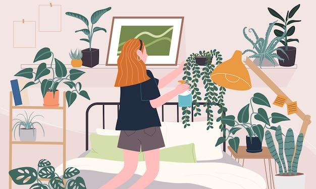 Плоская иллюстрация стиля персонажа из мультфильма женщины заботясь о заводе дома в спальне. повседневная жизнедеятельность во время карантина. концепция хобби идеи, которые можно сделать дома.