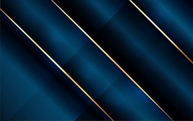 ラインゴールドと抽象的な暗い青色の背景