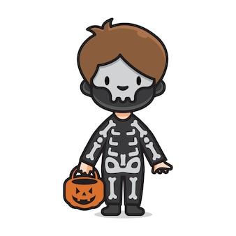 Милый хэллоуин костюм черепа
