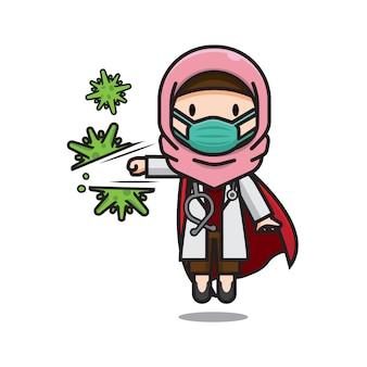 コロナウイルスを打つかわいい医者イスラム教徒