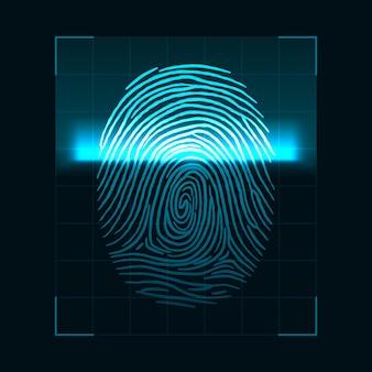 指紋スキャンのコンセプト。デジタル生体認証セキュリティシステムとデータ保護。暗い背景に分離された個人認証画面