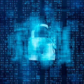 ハッキングされたファイアウォールの概念。壊れたセキュリティシステム、サイバー犯罪。マトリックスの背景に壊れたロック