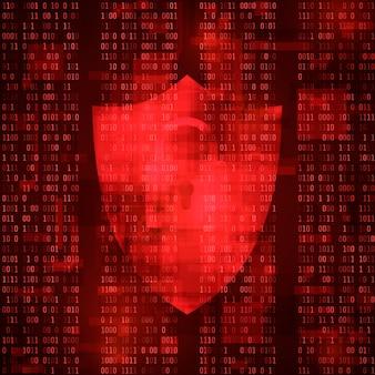 サイバー犯罪の概念。コンピュータシステムのハッキング。システム脅威マッサージ。ウイルス攻撃