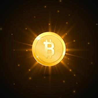 ビットコインのシンボルと暗号通貨黄金のコイン。未来技術のデジタルマネーのコンセプト