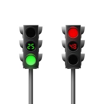 カウントダウン付きの現実的な緑と赤の信号機。道路交通法。孤立した図