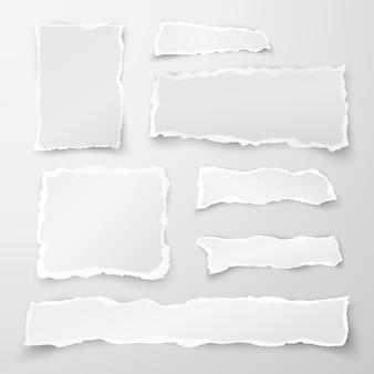 破れた紙片のセットです。メモ用紙。灰色の背景に分離した影を持つオブジェクトストリップ。図