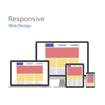 レスポンシブデザイン。ウェブ開発。コンピューター画面、スマートフォン、タブレット、ラップトップセット。