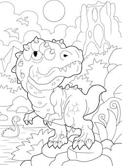 面白いティラノサウルスの塗り絵