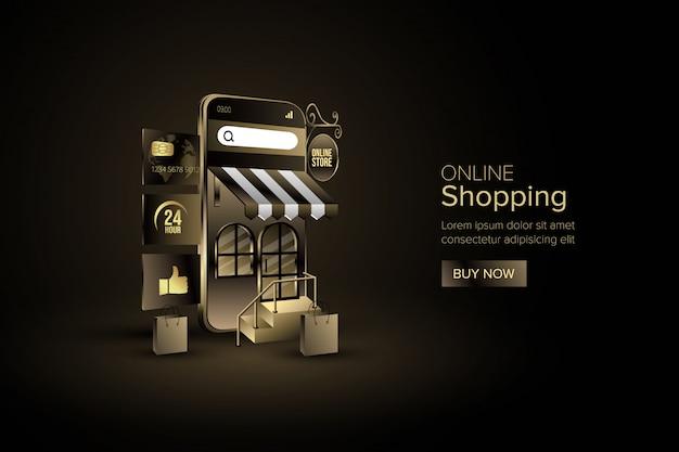 Интернет-магазин с концепцией цифрового маркетинга в мобильном приложении или на сайте