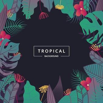 Тропический фон листья.