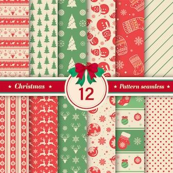 ヴィンテージ色のクリスマスパターンのシームレスなコレクション