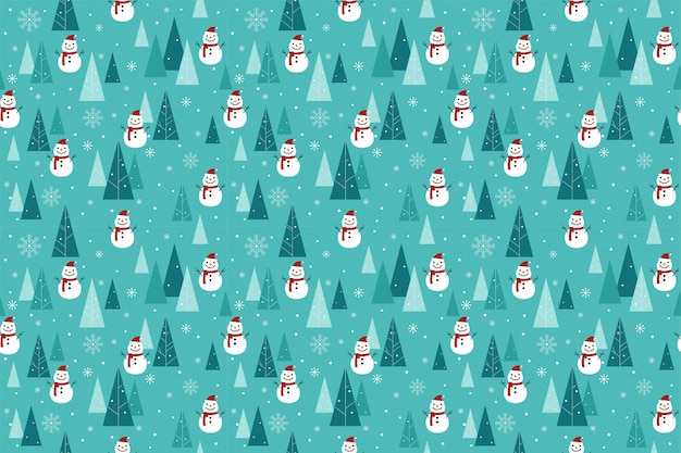 雪だるまと木のパターンシームレス。