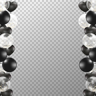 Реалистичная рамка из черных и белых шаров