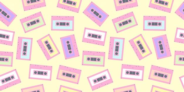 パステルカラーでシームレスなテープカセットパターン。