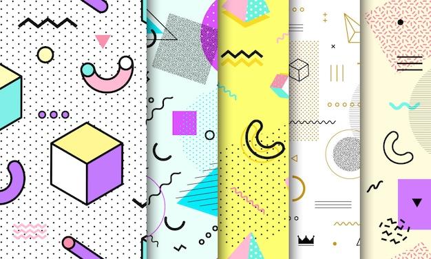 メンフィスのシームレスパターンコレクション。