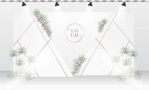 白とバラのゴールドカラーをテーマにした結婚式のフォトコール背景デザイン。