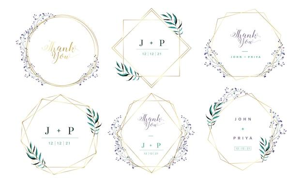 結婚式招待状の花の水彩画とゴールドの幾何学的なフレーム。