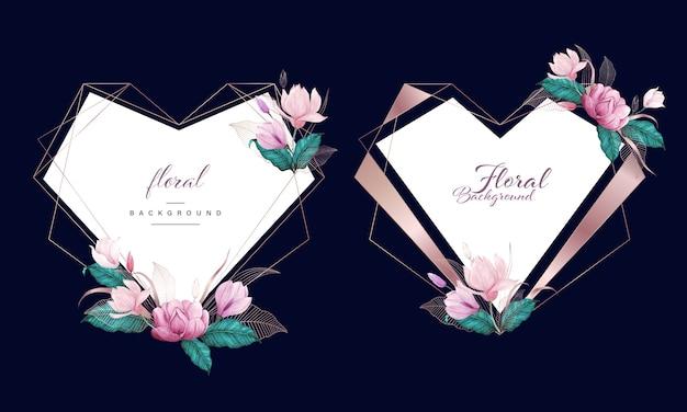 ローズゴールドハート幾何学的なフレーム、多目的の背景を持つ水彩花柄