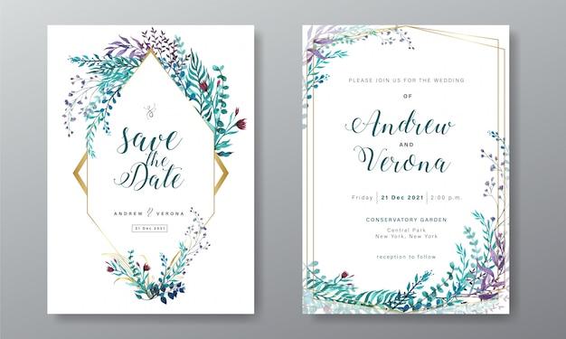 花の水彩画の装飾と結婚式の招待カードテンプレート